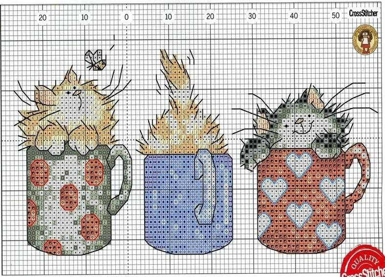 Вышивка коты в кружке 61