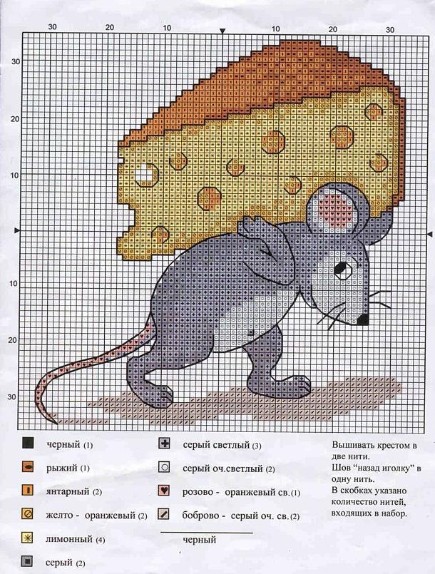 Вышивка крестом схемы подушка мышка 9