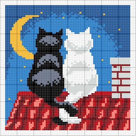 """Схемы для вышивания крестом """"кошки"""" блог домохозЯйки."""