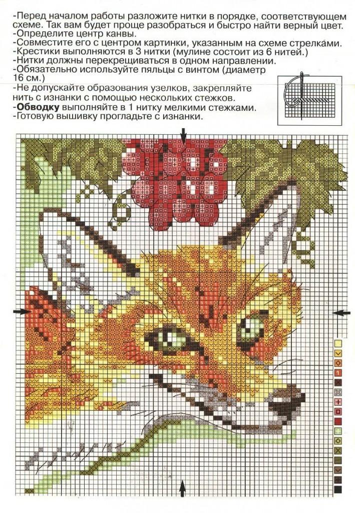 Схема для вышивания лисенок