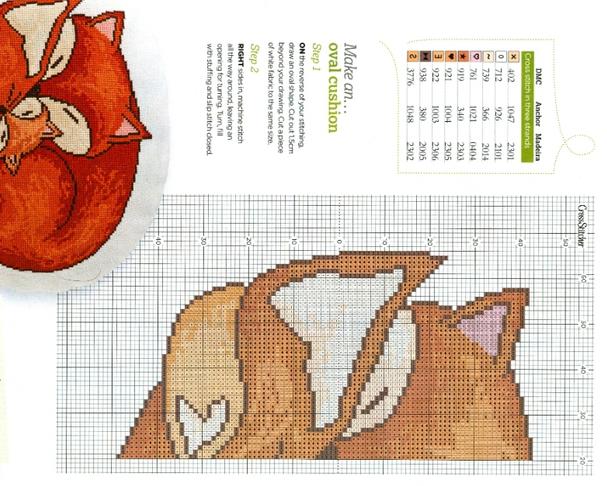 Лисичка схема вышивка