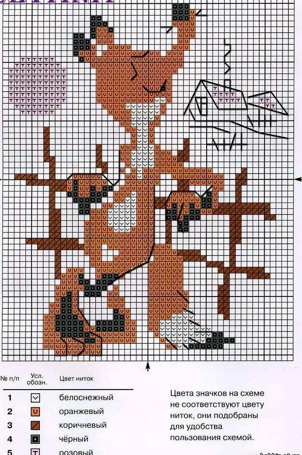 Схемы вышивки крестом лисички
