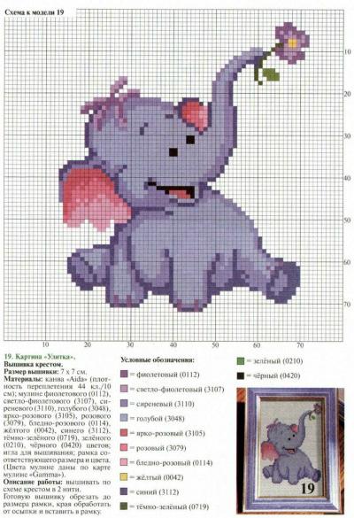 Схемы вышивка крестом слоника