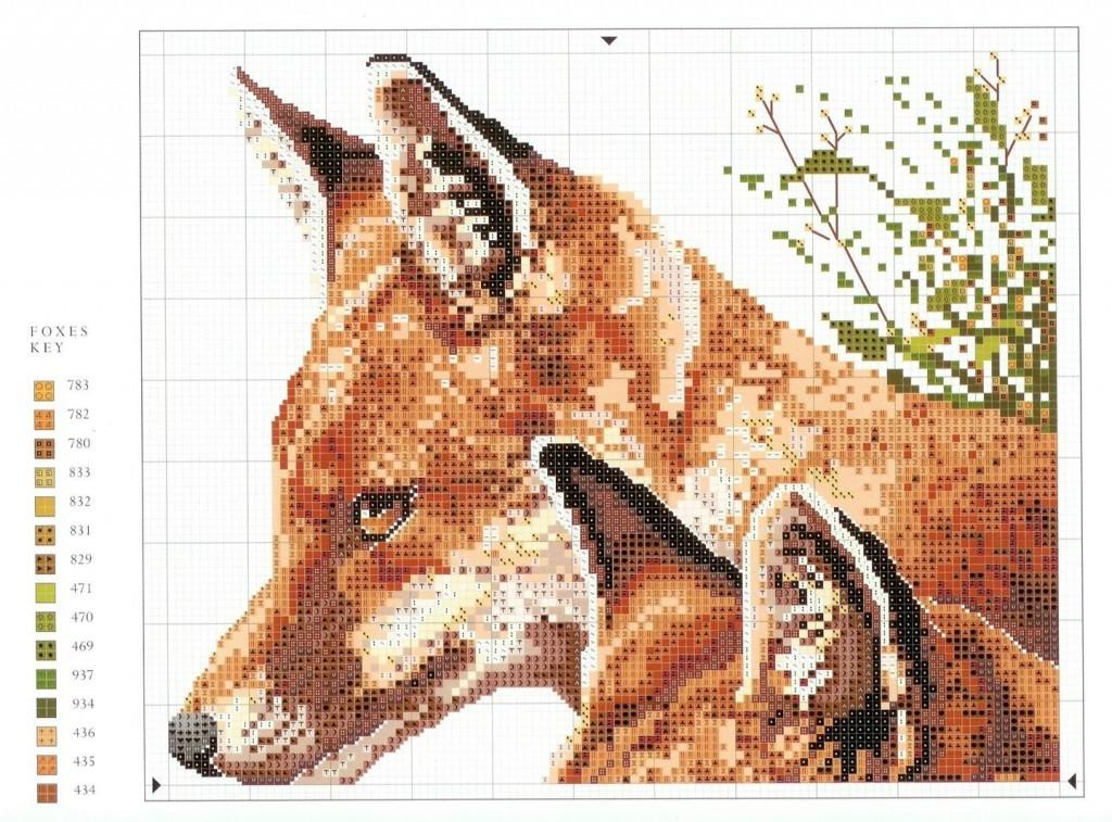 Схема для вышивки крестом лиса 59