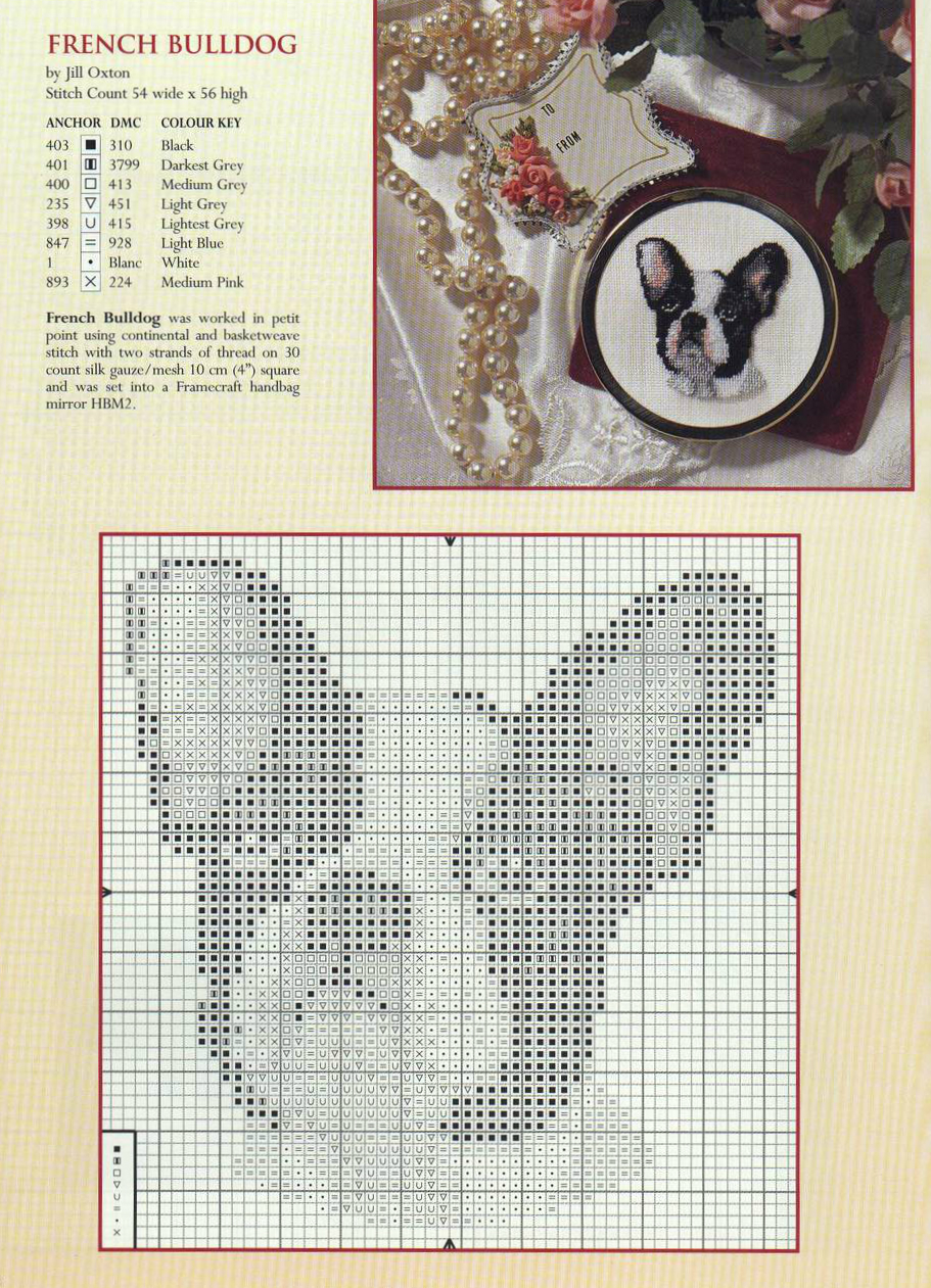 Схемы для вышивки крестом французский бульдог