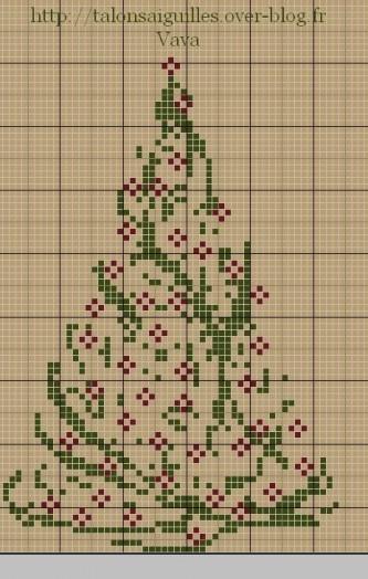 Схемы вышивки елочки новогодней