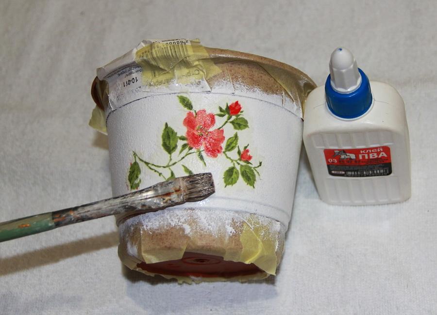 Декорирование цветочного горшка мастер классы