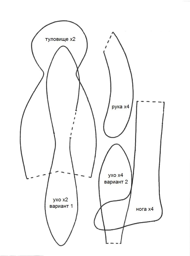 Заяц тильда выкройка в натуральную величину с