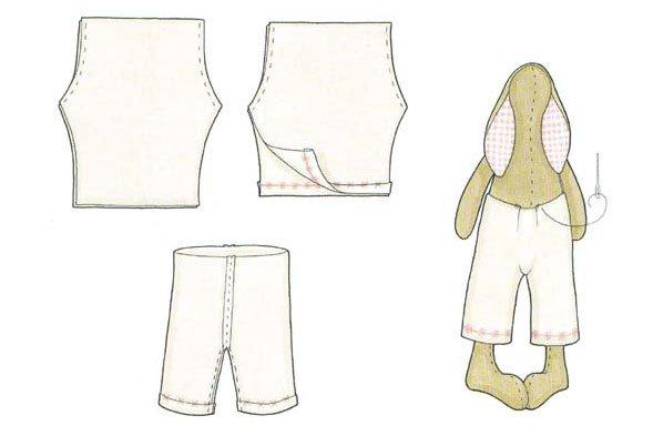 Выкройка для штанов зайца тильды