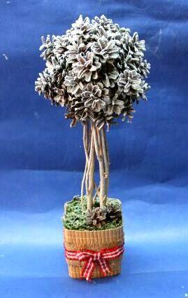 016 Топиарий из шишки: фото мастер класс, из листьев пошагово, своими руками как сделать осенний, из желудей еловых, мк из сосны